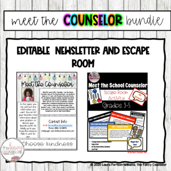 Meet the Counselor Escape Room and EDITABLE Newsletter Bundle