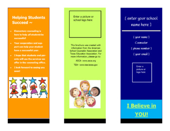 Meet the Counselor Pamphlet/Brochure