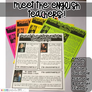 Meet the English Teachers Newsletter- EDITABLE - Basic Printer Friendly