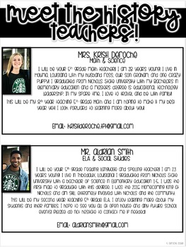 Meet the History Teachers Newsletter- EDITABLE - Basic Printer Friendly