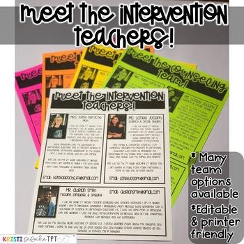 Meet the Intervention Teachers Newsletter- EDITABLE - Basic Printer Friendly