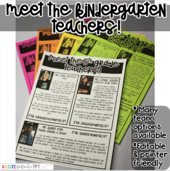 Meet the Kindergarten Teachers Newsletter- EDITABLE - Basic Printer Friendly