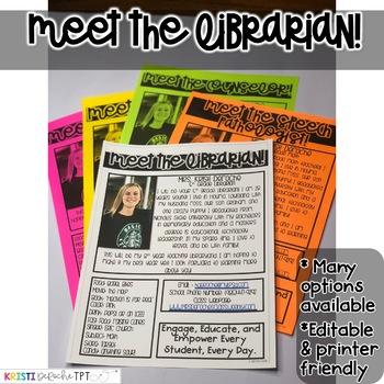 Meet the Librarian Newsletter- EDITABLE - Basic Printer Friendly