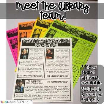 Meet the Library Teachers Newsletter- EDITABLE - Basic Printer Friendly
