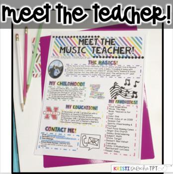 Meet the Music Teacher Newsletter - EDITABLE - Bright Stripes
