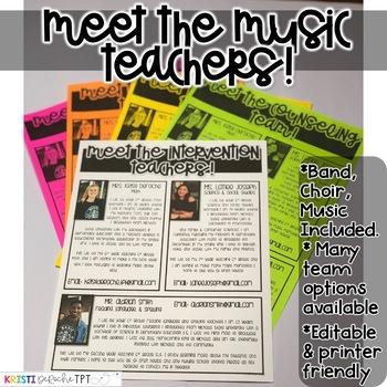 Meet the Music Teachers Newsletter- EDITABLE - Basic Printer Friendly