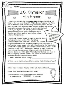 Meet the Olympians: U.S. Soccer Edition (Non-Fiction Comp. Passages) High