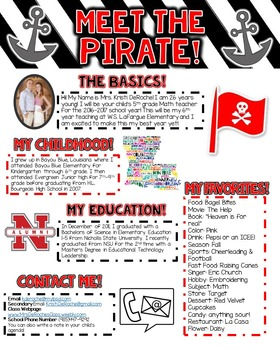 Meet the Pirate Newsletter- Red, Black, and White