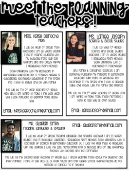 Meet the Planning Teachers Newsletter- EDITABLE - Basic Printer Friendly