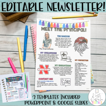 Meet the Principal Newsletter- EDITABLE