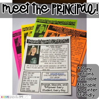 Meet the Principal Newsletter- EDITABLE - Basic Printer Friendly