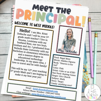 Meet the Principal Newsletter- EDITABLE- Bright Stripes