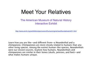 Meet the Relatives Common Core Activity