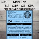 Meet the SLP {Editable} Parent Handout