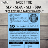 Meet the SLP/SLPA/SLT/CDA {Editable} Parent Handout
