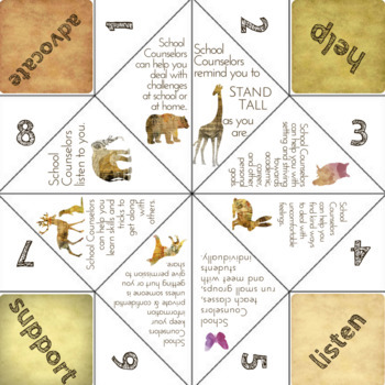 Meet the School Counselor Activity: Fortune Teller Game for Guidance Lesson