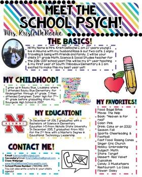 Meet the School Psych Newsletter- EDITABLE- Bright Stripes