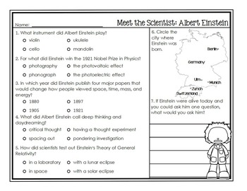 Albert Einstein Scientist Study / Biography Activity