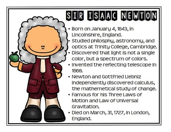 Isaac Newton Scientist Study / Biography Activity