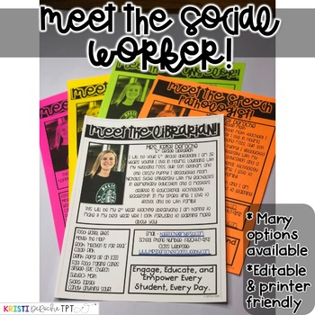 Meet the Social Worker Newsletter- EDITABLE - Basic Printer Friendly