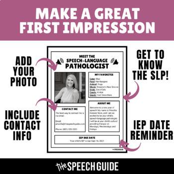 Meet the Speech Pathologist (Parent Handout) - EDITABLE!