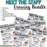 Meet the Staff Newsletter GROWING BUNDLE- EDITABLE- Bright Stripes