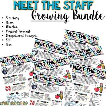 Meet the Staff Newsletter GROWING BUNDLE- EDITABLE- Bright