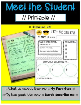 Meet the Student Printable