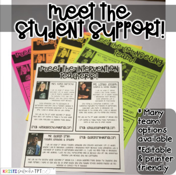 Meet the Student Support Newsletter Template- EDITABLE - Basic Printer Friendly