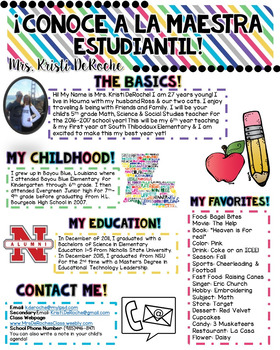 Meet the Student Teacher- Bright Stripes- SPANISH
