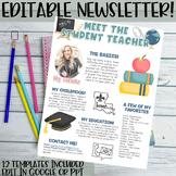 Meet the Student Teacher Newsletter Template- EDITABLE- Br
