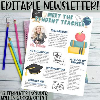 Meet the Student Teacher- EDITABLE- Bright Stripes