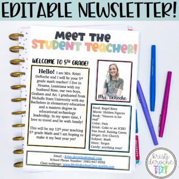 Meet the Student Teacher - EDITABLE - Floral Design