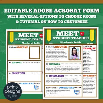 Meet the Student Teacher Flyer, Newsletter or Brochure Fully Editable & Tutorial