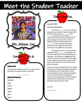Meet the Student Teacher Letter- Apple Theme