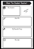 Meet the Student Teacher- Profile Printable