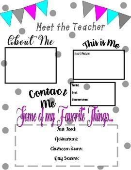Meet the Teacher/Student printable (Open House)