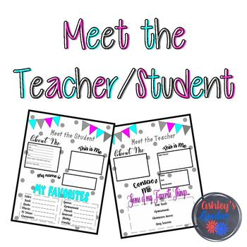 Meet the Teacher/Student printable (Open House)
