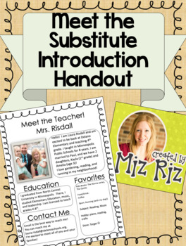 Meet the Substitute- Introduction Handout!