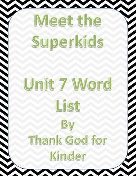 Meet the Superkids Unit 7 Word List Freebie