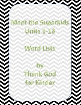 Meet the Superkids Word Lists