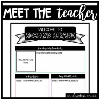 Meet the Teacher 2nd Grade - EDITABLE