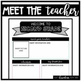 Meet the Teacher 2nd Grade - IN COLOR + EDITABLE