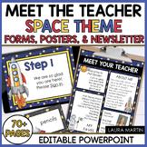 Meet the Teacher Open House EDITABLE templates Space Theme   Back to School