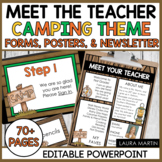 Meet the Teacher Open House EDITABLE Templates Camping Theme | Back to School