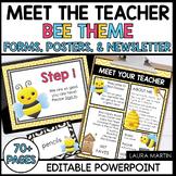 Meet the Teacher Open House EDITABLE templates Bee Theme |