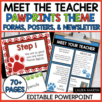 Meet the Teacher-Pawprints Theme