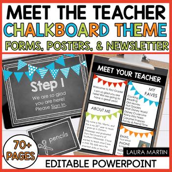 Meet the Teacher Open House EDITABLE templates Chalkboard Theme