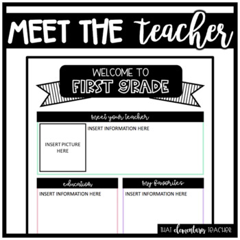 Meet the Teacher 1st Grade - IN COLOR + EDITABLE