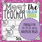 Meet the Teacher: A Beginning & End of Year Activity